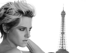 Картинка взгляд, девушка, черно-белое, Kristen Stewart