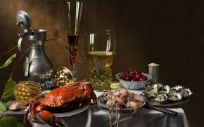 Картинка вишня, вино, бокал, краб, натюрморт, креветки, устрицы