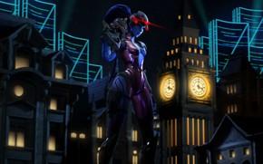 Картинка девушка, ночь, город, assassin, Overwatch, Widowmaker, Amélie Lacroix