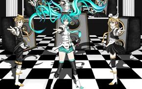 Картинка девушка, динамики, парень, Vocaloid, Вокалоид, калонки, Хатсуне Мику, Кагомине Лен, Кагомине Рин