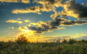 Картинка небо, облака, закат, природа