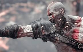 Картинка Kratos, Forte, poderoso, homem, Deus, Bearb, Deus da guerra, semideus, fúria, Careca, arte digital, Guerreiro, …