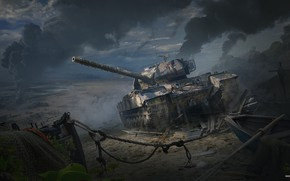 Обои Война, Арт, Танк, Art, Tank, World of Tanks, Caernarvon Action X, British Tier VIII, Andrey ...