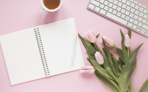 Картинка цветы, чай, ручка, тюльпаны, блокнот, клавиатура