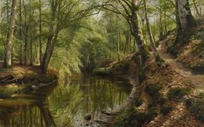 Картинка 1918, датский живописец, Петер Мёрк Мёнстед, Peder Mørk Mønsted, Danish realist painter, Ручей течет через …