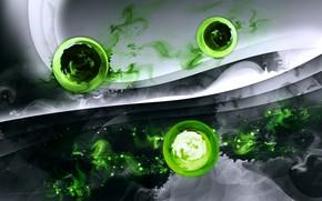 Картинка абстракция, шары, зелёные шары