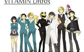 Картинка персонажи, Durarara, Дюрарара, Шизуо Хейваджима, Изая Орихара, Всадник без головы, Селти