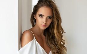 Обои взгляд, девушка, волосы, макияж, блузка, Maxim Maximov