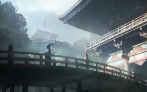 Картинка деревья, мост, храм, мужчина, традиционая одежда