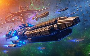 Картинка Звезды, Туманность, Stars, Spacecrafts, Art, Фантастика, Nebula, Астероиды, Флот, Космический корабль, Spaceship, Space Station, Science …