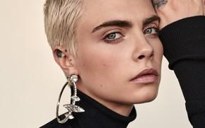 Картинка глаза, взгляд, серьги, блондинка, Cara Delevingne, Кара Делевинь
