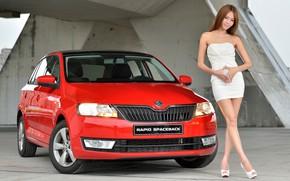 Картинка взгляд, Девушки, азиатка, красивая девушка, Škoda, красный авто, позирует над машиной