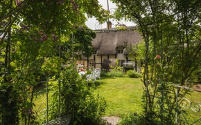 Картинка Worcestershire, Birlingham cottage, Birlingham, сад, Англия, двор, luxury cottage, коттедж, Cotswolds