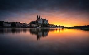 Картинка вода, закат, озеро, отражение, дома, Germany, Saxony, Meisen