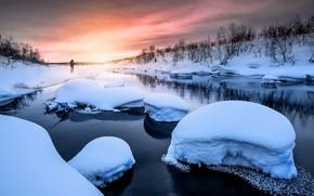 Картинка зима, закат, река