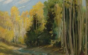 Картинка пейзаж, природа, картина, Joseph Henry Sharp, Осиновый Лес. Каньон Хондо возле Таоса, Джозеф Генри Шарп