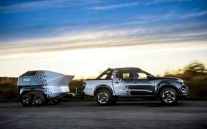 Картинка дорога, небо, Nissan, пикап, прицеп, 2018, Navara, Dark Sky Concept