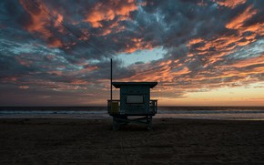 Картинка море, пляж, облака, закат, будка