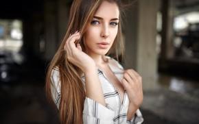 Картинка взгляд, поза, модель, портрет, макияж, прическа, рубашка, шатенка, красотка, боке, Alex Fetter, Giusy