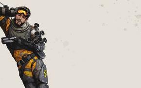 Картинка игра, арт, парень, серый фон, персонаж, Apex Legends