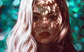 Картинка лицо, шатенка, портрет девушки, свет и тень, by Angel Ganev