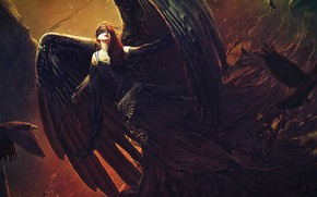 Картинка девушка, ангел, чёрные крылья
