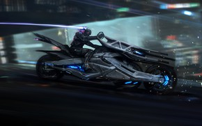 Картинка Будущее, Скорость, Движение, Байк, Мотоцикл, Fantasy, Арт, Art, Movement, Speed, Фантастика, Bike, Future, Moto, Транспорт, …