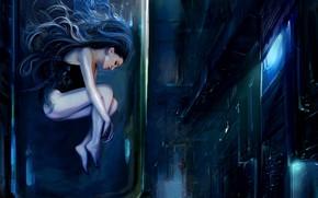 Картинка Девушка, Ночь, Улица, Girl, Камера, Fantasy, Арт, Art, Фантастика, Колба, Cyberpunk, Nastya Shkoda ArtShkoda, by …