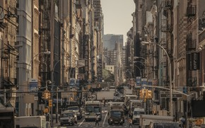 Картинка машины, улица, дома, Нью-Йорк, вывески, США, Бродвей