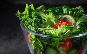 Картинка зелень, стекло, свет, зеленый, темный фон, еда, лайм, миска, вкуснятина, овощи, помидоры, томаты, дольки, огурцы, …