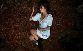 Картинка осень, девушка, поза, настроение, платье, тату, Кристина, Денис Ланкин