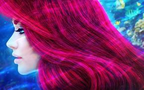 Картинка девушка, волосы, русалка, рыжая, Ariel, art, disney, princess, The Little Mermaid