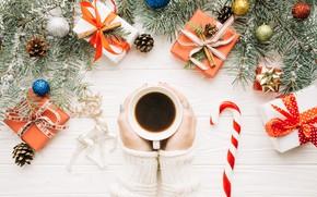 Картинка шары, елка, Новый Год, Рождество, подарки, Christmas, balls, cup, New Year, gift, coffee, decoration, Happy, …