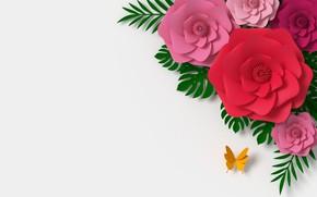 Картинка цветы, рендеринг, узор, colorful, pink, butterfly, flowers, композиция, rendering, paper, composition, floral