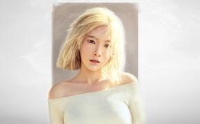 Картинка Минимализм, Взгляд, Блондинка, Стиль, Лицо, Азиатка, Girl, Фон, Портрет, Арт, Art, Asian, Красивая, Minimalism, Face, …