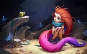 Картинка бабочки, ночь, лягушка, девочка, League Of Legends, Zoe