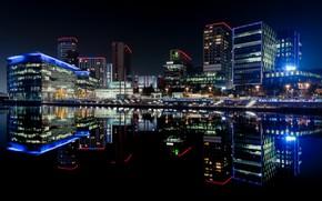 Картинка ночь, город, Manchester