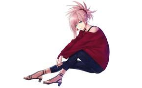 Картинка Saber, Fate/Grand Order, Redapple999, Miyamoto Musashi, Shoulder-less Shirt