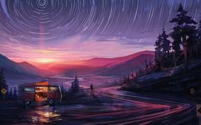 Картинка дорога, закат, город, человек, арт, красивый вид, любование