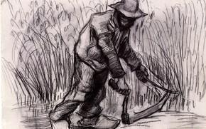 Картинка рабочий, серп, чёрно - белое, фермер, Винсент ван Гог, Peasant with Sickle