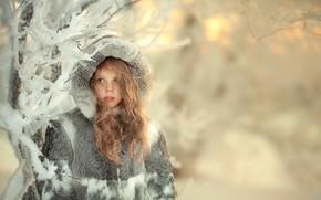 Картинка девочка, снег, капюшон, зима, мех, локоны, шуба