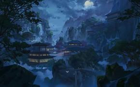 Картинка Горы, Ночь, Рисунок, Луна, Дворец, Замок, Китай, Азия, Пейзаж, Архитектура, Art, Illustration, by Xu Ergeng, …
