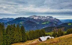 Картинка крыша, осень, лес, небо, облака, пейзаж, горы, природа, дом, холмы, склоны, высота, ели, Альпы, домик, …
