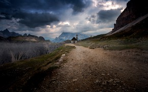 Картинка дорога, небо, горы, храм