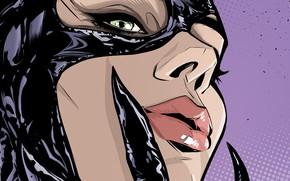 Картинка girl, fantasy, green eyes, comics, lips, face, artwork, mask, costume, fantasy art, DC Comics, Catwoman, …
