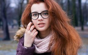 Картинка взгляд, Девушка, очки, рыжая, Alisa Bobovnikova
