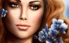 Картинка взгляд, девушка, цветы, лицо