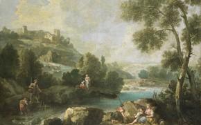 Картинка масло, картина, холст, 1770, Джузеппе Зейс, Пейзаж с фигурами, Giuseppe Zais