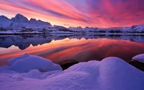 Обои зима, небо, снег, деревья, горы, озеро, отражение, зарево