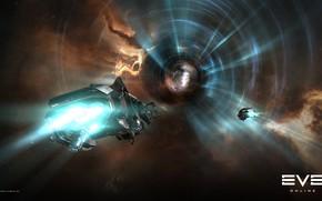 Картинка туманность, Космос, space, космический корабль, eve online, space ship, червоточина, космоопера